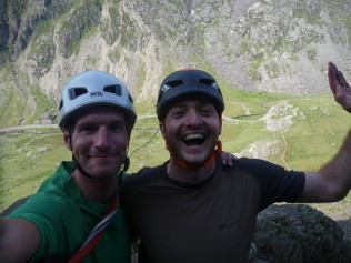 Ian and I at the top of The Cracks after a great day in the Pass