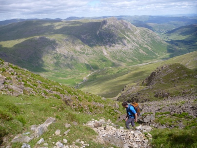 Approaching Bowfell Buttress