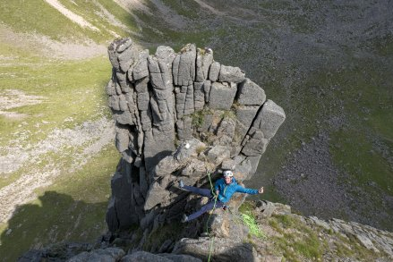 Enjoying a belay on the saddle on the Cumming-Crofton Route - photo Rob Lovell