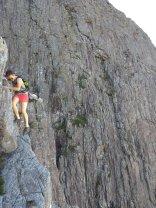 Ailsa on descending Curved Ridge