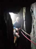 Belay inside the butress