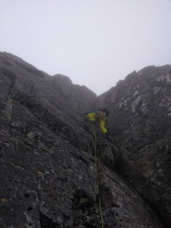 Es climbing the final 40foot chimney