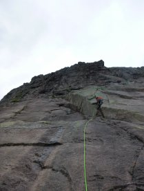 Contemplating the lower crux on The Clean Sweep