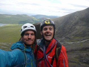Me and Josh on top of Arrow Route with the Cioch behind us