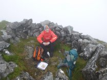 Sheltering from the gale on top of Gars Bheinn