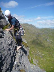 Chris descending in bare feet!