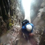 Belay in a waterfall