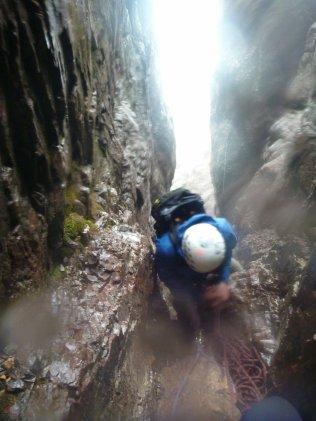 Belay in a waterfall